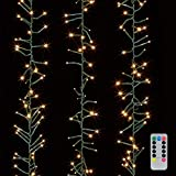 Christmas Cluster Lights 20 Foot Garland with 600 Warm White Lights on Green Wire with Remote Control - Raz Exclusive Twinkle Function