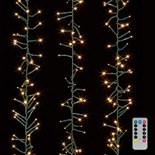 20 Multi Lights White Wire - Christmas Cluster Lights 20 Foot Garland with 600 Warm White Lights on Green Wire with Remote Control - Raz Exclusive Twinkle Function