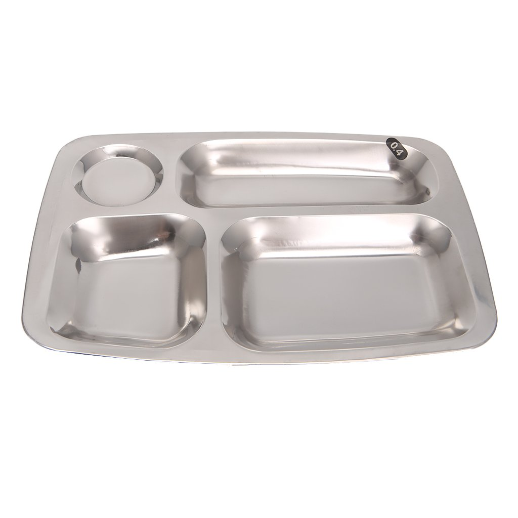 Dabixx Stainless Steel Divided Dinner Tray Lunch Container Food Plate 4/5/6 Section-01