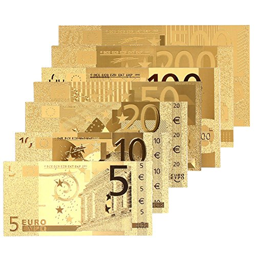 Fdrirect 24K Gold Plated Euro 8PCS Souvenir Collection Fake Money Gold Realistic