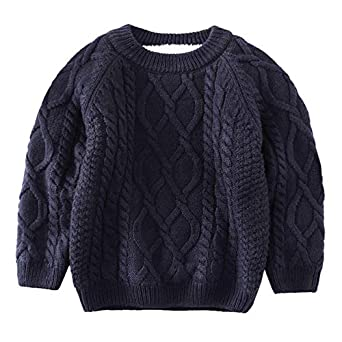 d44d5ae42 De feuilles Toddler Unisex Baby Cable Knit Pullover Sweater Chunky Knitted  Jumper Knitwear with Warm Lining: Amazon.co.uk: Clothing