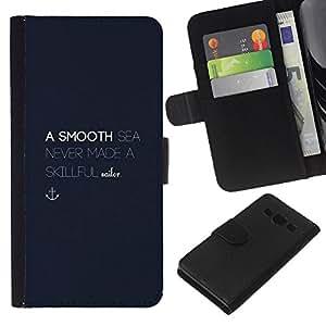 Supergiant (Smooth Sea Motivational Blue Anchor) Dibujo PU billetera de cuero Funda Case Caso de la piel de la bolsa protectora Para Samsung Galaxy A3 / SM-A300