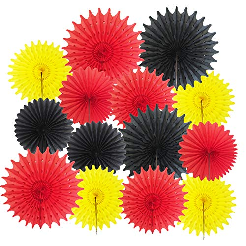 Mickey Mouse Party Supplies 14pcs Yellow Red Black Paper Fans for Mickey/Minnie Mouse Party Decorations Mickey Mouse Birthday Party Decor Pinwheel Backdrop Decor Wall Photo Backdrop]()