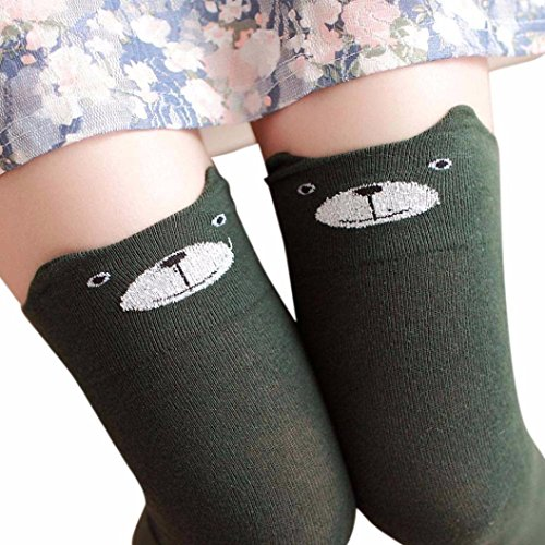 Women Winter Cat Bear Panda Knitted Over Knee Long Boot Thigh-High Warm Socks (Green) ()