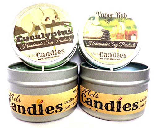 Combo - Eucalyptus & Vicks Vapor Rub Type- Set of Two 4oz All Natural Soy Candle Tins (God Please Take Me Away From This World)