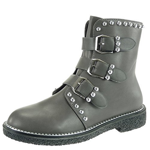 boots Shoes boots Fashion 3 CM Ankle Angkorly metallic Women's biker Booty Grey combat Heel studded Block buckle HUfqEIxw