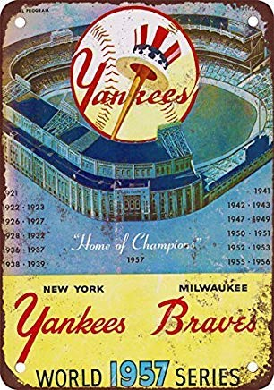 Bruyu5se Metal Sign, Tin Sign, 1957 World Series Vintage Look Reproduction Metal Tin Sign 12X18 Inches 1957 World Series Mini