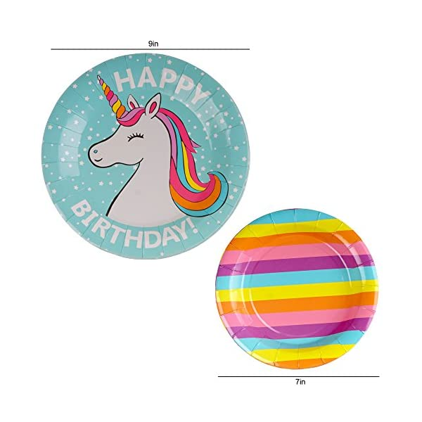 102 Piece Rainbow Unicorn Party Supplies Set Including Banner, Plates, Cups, Napkins, Straws, and Tablecloth, Serves 20 7