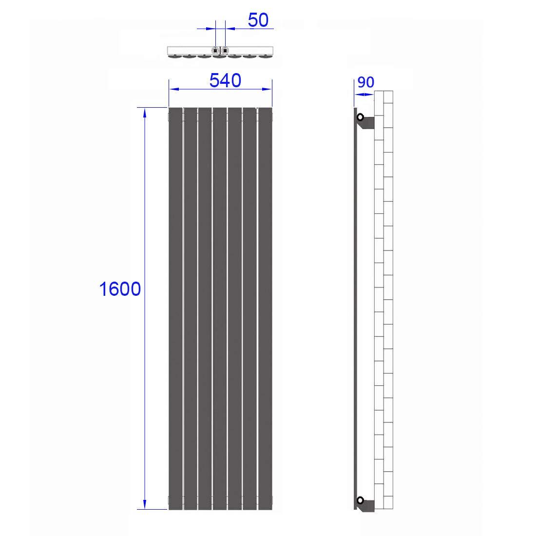 Design Flach Heizk/örper Design Vertikal Paneelheizk/örper 1800 x 540 mm Antrazit Flach Einreihig Mittelanschluss Heizung
