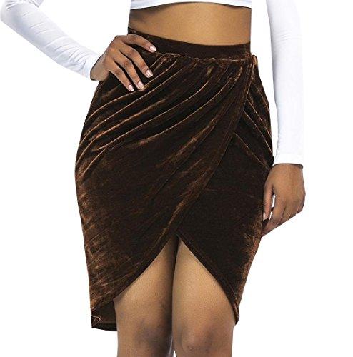 Top ANDYOU-Women Slim Fit Gold Velvet High Waisted Asymmetrical Skirt for cheap