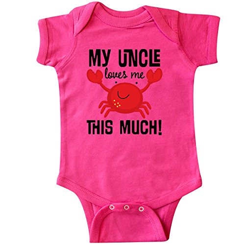 - inktastic - Uncle Loves Me Childs Crab Infant Creeper 24 Months Hot Pink 2aacf