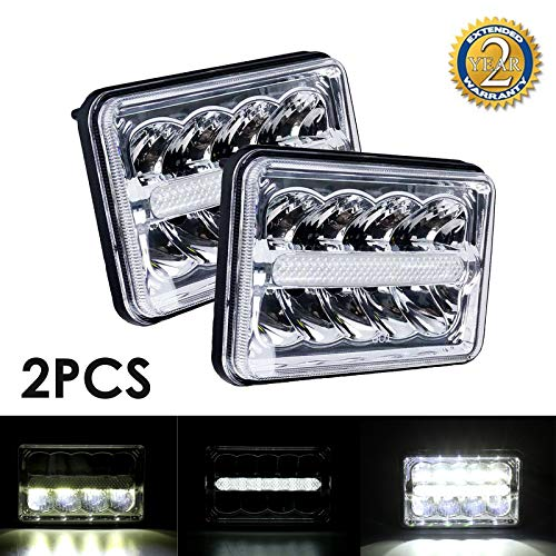 Pair 4x6 LED Headlights with DRL Hi/Lo Sealed Beam 6x4 Headlamp Replacement H4 Plug Retangle Fit for Truck Van Chevrolet K5 K10 K20 K30 Blazer S10 Chevy W3500 W4500 W5500, 2 Yr Warranty