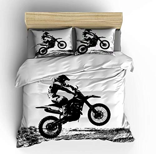 Vichonne Dirt Bike Bedding Sets Twin Size,3 Piece Motocross Racer Extreme Sports Theme Duvet Cover Sets with Pillowcases for Teens Boys Girls Bedroom Decorative,White Black,No Comforter