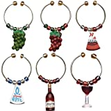 Boston Warehouse Wine and Cheese Wine Charms, Set of 6