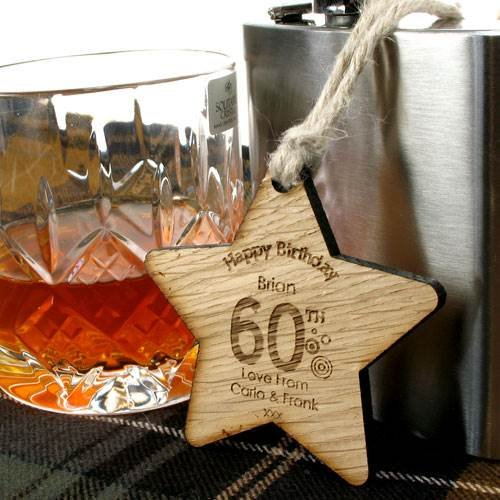 Personalised 60th Birthday Gift Mens Gifts Keepsake Wooden Star Amazoncouk Kitchen