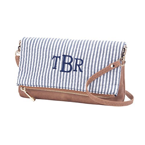 Fashion Print Crossbody Purse - Personalization Available! (Personalized Navy Seersucker)