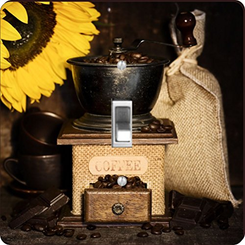 Rikki Knight RK-LSPS-8925 Still Life With Antique Coffee Grinder And Sunflower Design Light Switch Plate Cover