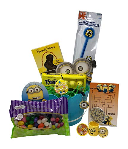 Despicable Me Minions Easter Basket Pre Filled with Easter Candy, Easter Toys, Easter Basket Filler, and Easter Basket Grass | Great for Kids, Boys and Girls