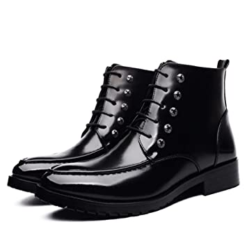 3e19ed5301e54 HYLFF Martin Boots Men High-top Pointed Boots Leather Lace Up Comfortable Ankle  Boots Wild