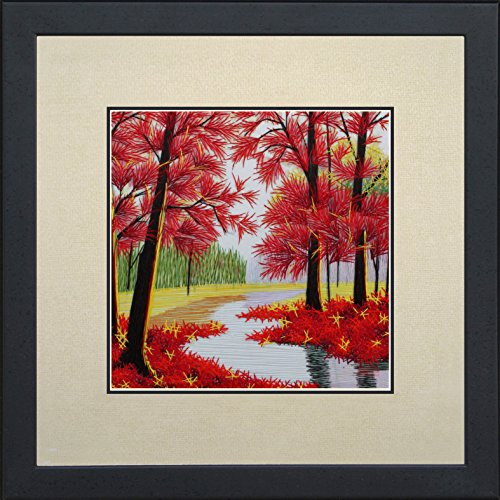 andmade Embroidery Mixed Group Feng Shui Japanese Maple Leaves Forest Chinese Print Framed Landscape Painting Anniversary Wedding Birthday Party Gift Oriental Asian Wall Art Décor Artwork Tapestry Hanging Picture Gallery 37017WFG ()