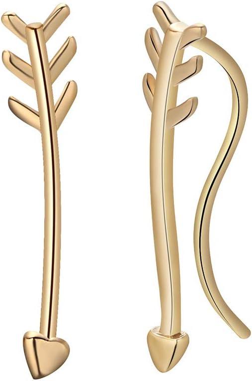 HOMEYU Geometric Ear Climbers Triangle Arrow Cuff Crawler Stud Earrings Hypoallergenic