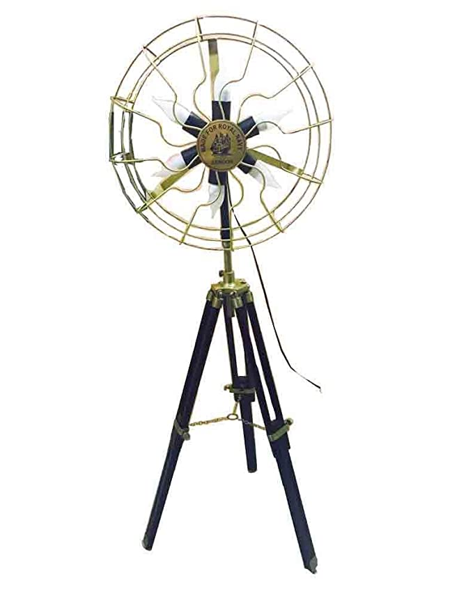 REGAL SURVEY Brass Vintage Style Fan Light with Tripod Stand - (51-inch, Antique) Standing Lights at amazon