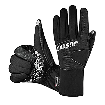 JUSTKIT Waterproof & Windproof Thermal Gloves - 3M Thinsulate Winter Touch Screen Coldproof Gloves - Light Weight Thin - For Cycling,Riding,Running,Skiing,Outdoor Sports - For Women and Men -Black