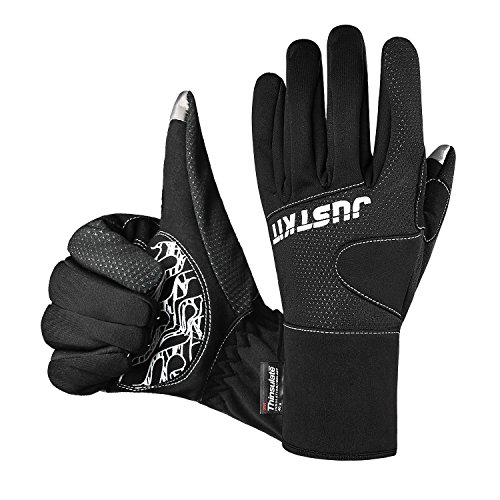 JUSTKIT Waterproof & Windproof Thermal Gloves - 3M Thinsulate Winter Touch Screen Coldproof Gloves - Light Weight Thin - For Cycling,Riding,Running,Outdoor Sports - For Women and Men - Black