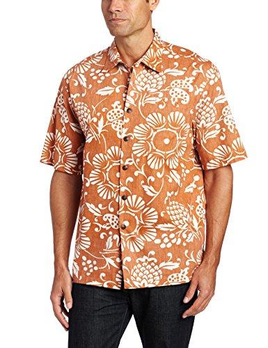 Kahala Men's Dukes Pareo Full Button Front Shirt, Lava Orange, Small