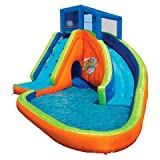 Banzai Sidewinder Falls 15 Foot Inflatable Waterpark Water Slide Spring Summer Inflatable Air Backyard Backyard Pool Spray Splash Bounce Toy