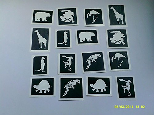 30 x Jungle themed stencils for glitter tattoos / many other uses! monkey elephant giraffe - Many Monkeys