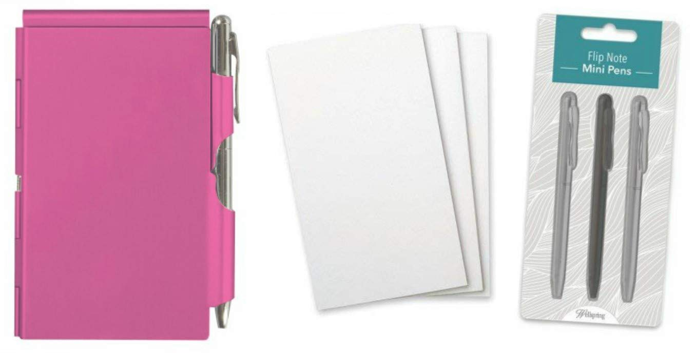 Wellspring Flip Note Notepad Set: Pink Flip Note, 3 Flip Note Refill Pads and a 3 Mini Pen Refill