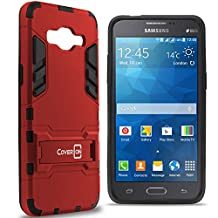 Galaxy Grand Prime Case, CoverON® [Shadow Armor Series] Dual Layer Hybrid Cover Kickstand Phone Case For Samsung Galaxy Grand Prime - Red & Black
