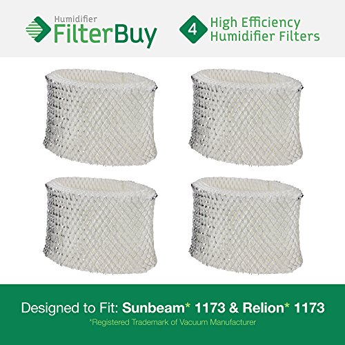 4 - 1173 Sunbeam & Relion Humidifier Wick Filters. Designed & Engineered by FilterBuy in the USA.
