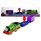 Fisher Price Year 2011 Thomas and Friends Greatest Moments Series As Seen On DVD Trackmaster Motorized Railway Battery Powered Tank Engine 3 Pack Train Set - UP, UP & AWAY PERCY with Percy the Steam Engine, Flatbed Trailer with Red 'Giant Balloon' and Mr. Bubbles' Purple Caboose (W3236)