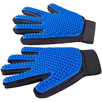 Derosen Premium Pet Grooming Deshedding Gloves - 1 Pair - You and Your Pet Deserve The Very Best -
