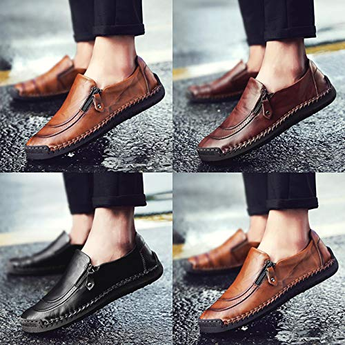 Qiucdzi Mens Leather Comfortable Shoes Hand Stitching Zipper Non-Slip Casual Shoes Loafer Boat Sneaker (US Men 10.0, Black)