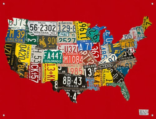 Oopsy Daisy Canvas Wall Murals License Plate USA Map RED by Aaron Foster, 42 by (Oopsy Daisy Collage)