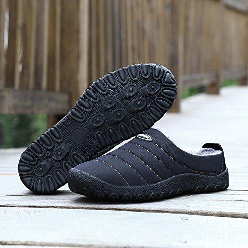 Pour Hommes Fermé Doublé welltree Chaussure Chaud Chaussures Doublé Neige Top Bas Hiver Pantoufles Imperméables Fourrure Black Femmes qTZBqOw