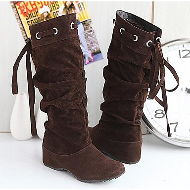 Women's Boots Comfort Fashion Boots Winter Real Leather PU Casual White Black Yellow Brown Under 1in , brown , us6.5-7 / eu37 / uk4.5-5 / cn37