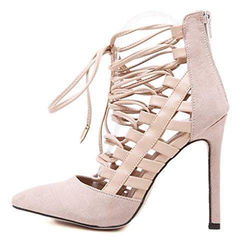 Suede Abricot Cross Nouveau Hauts Bretelles DSISI Sexy Chaussures Taille Talons Sandales Noir Hate et Amérique 36 Mesh Europe Baotou Couleur à Sandales 1ACwqx5C