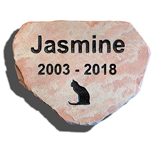 Pet Memorial Stone - Personalized Real Natural Stone - Ships Free, Dog, Cat, Small Animal - Grave Marker, Headstone, Garden Marker, Loss of Pet Gift, Pet Remembrance Gift - Indoor, Outdoor (Buckskin)