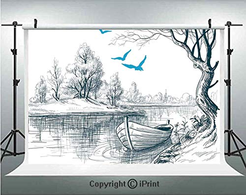 Lake House Decor Photography Backdrops Boat on Calm River Trees Birds Twigs Sketch Drawing Clipart Water Minimalistic,Birthday Party Background Customized Microfiber Photo Studio Props,5x3ft,White Gr