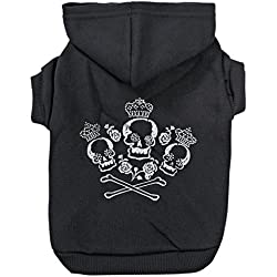 Zack & Zoey Crowned Crossbone Dog Hoodie with Skull & Crossbones and Rhinestones