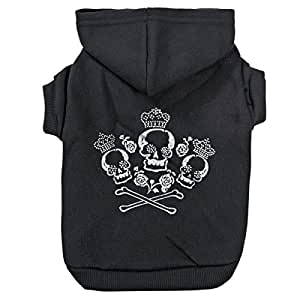 """Zack & Zoey Crowned Crossbone Hoodie for Dogs, 12"""" Small, Black"""