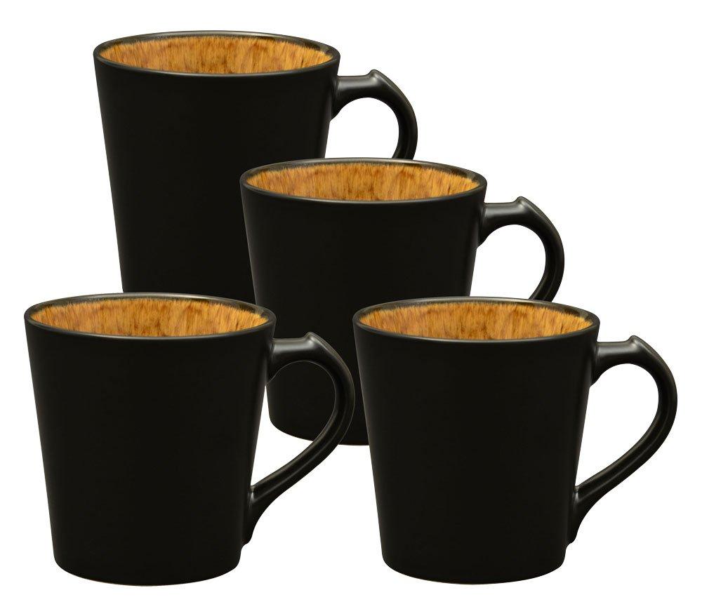 Culver VOG Ceramic Mug, 14-Ounce, Black Brown, Set of 4