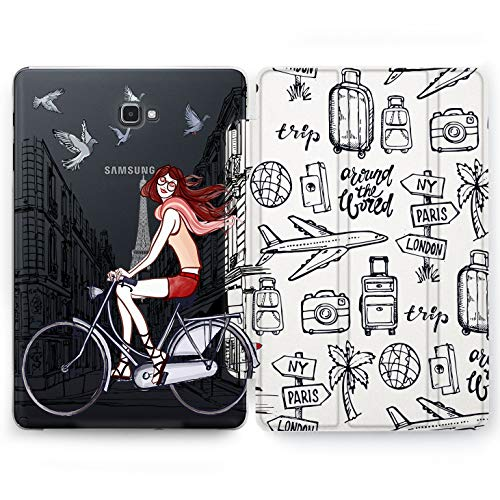 Wonder Wild Bicycle Girl Samsung Galaxy Tab S4 S2 S3 A E Smart Stand Case 2015 2016 2017 2018 Tablet Cover 8 9.6 9.7 10 10.1 10.5 Inch Clear Design Cycle Airplane Traveling Trip Around World Globe