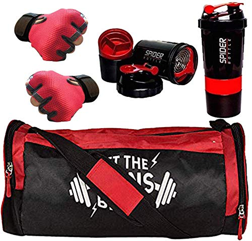 5 O' CLOCK SPORTS Men's and Women's Polyester Combo of Weight Lifting Gloves with Diet Shaker Bottle 500 ml and Fitness Gym Bag (Red)
