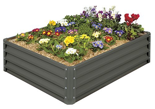 Mr Stacky HighGrade Metal Raised Garden Bed Kit 3 ft x 4 ft x 1 ft  Elevated Planter Box for Growing Herbs Vegetables Greens Strawberries Flowers and Much More 01