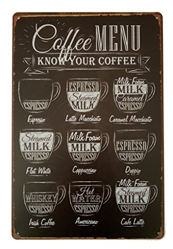 Coffee Menu Poster 12 X 8